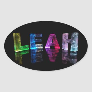 The Name Leah in 3D Lights (Photograph) Oval Sticker