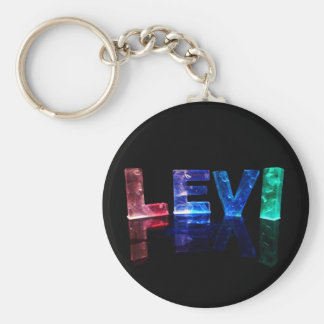 The Name Levi in 3D Lights (Photograph) Key Ring
