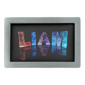 The Name Liam in 3D Lights (Photograph) Belt Buckles