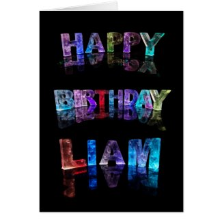 The Name Liam in 3D Lights (Photograph) Cards