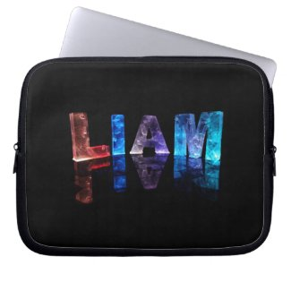The Name Liam in 3D Lights (Photograph) Laptop Sleeve