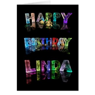 The Name Linda in 3D Lights (Photograph) Greeting Card