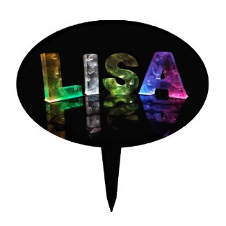 The Name Lisa in 3D Lights (Photograph) Cake Topper
