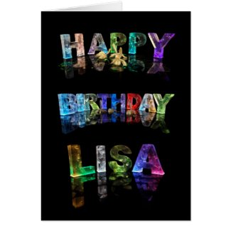 The Name Lisa in 3D Lights (Photograph) Greeting Cards
