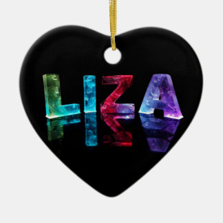 The Name Liza in 3D Lights (Photograph) Ceramic Heart Decoration