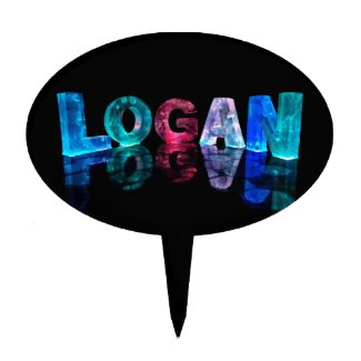 The Name Logan in 3D Lights (Photograph) Cake Pick