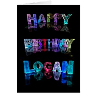 The Name Logan in 3D Lights (Photograph) Greeting Card