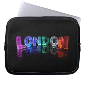 The Name London in 3D Lights (Photograph) Laptop Computer Sleeves