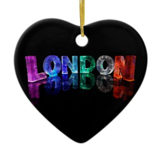 The Name London in 3D Lights (Photograph) Christmas Tree Ornament