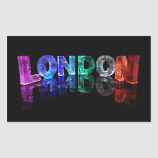 The Name London in 3D Lights (Photograph) Rectangle Sticker
