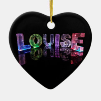 The Name Louise in 3D Lights (Photograph) Ceramic Heart Decoration