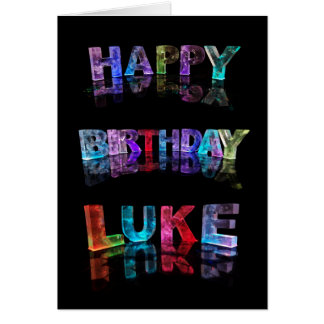The Name Luke in 3D Lights (Photograph) Card