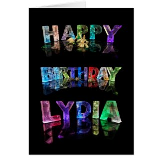 The Name Lydia in 3D Lights (Photograph) Card