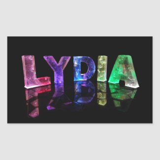 The Name Lydia in 3D Lights (Photograph) Rectangular Sticker