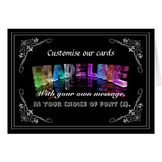 The Name Madeline in 3D Lights (Photograph) Greeting Card