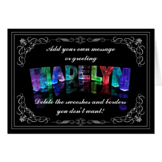 The Name Madelyn in 3D Lights (Photograph) Card