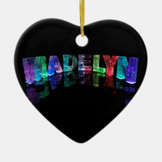 The Name Madelyn in 3D Lights (Photograph) Ceramic Heart Decoration