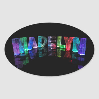 The Name Madelyn in 3D Lights (Photograph) Oval Sticker