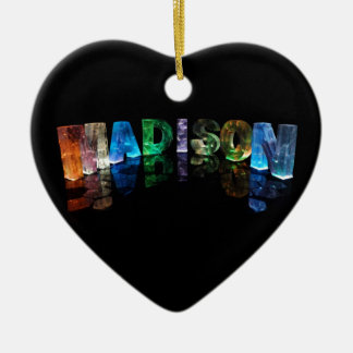 The Name Madison in 3D Lights (Photograph) Christmas Ornament