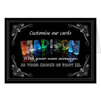 The Name Madison in 3D Lights (Photograph) Greeting Card