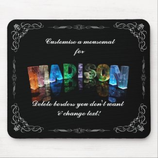 The Name Madison in 3D Lights (Photograph) Mousepad