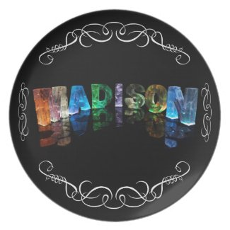 The Name Madison in 3D Lights (Photograph) Party Plate