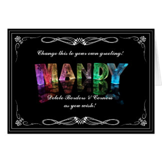 The Name Mandy in 3D Lights (Photograph) Card