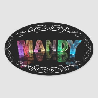The Name Mandy in 3D Lights (Photograph) Oval Stickers