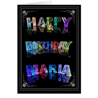 The Name Maria in 3D Lights (Photograph) Greeting Card