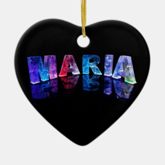 The Name Maria in 3D Lights (Photograph) Ceramic Heart Decoration