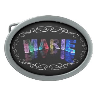 The Name Marie in 3D Lights (Photograph) Oval Belt Buckles