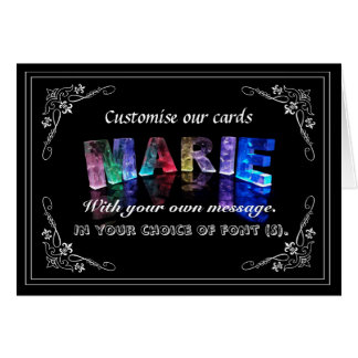 The Name Marie in 3D Lights (Photograph) Greeting Card
