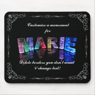 The Name Marie in 3D Lights (Photograph) Mousemats