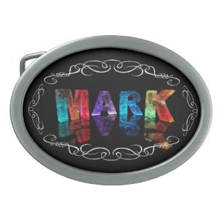 The Name Mark in 3D Lights (Photograph) Oval Belt Buckle