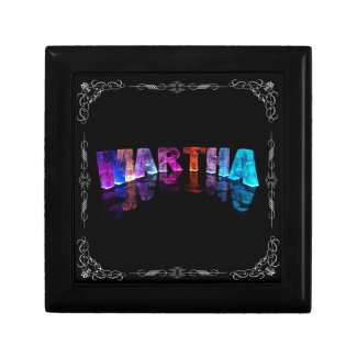 The Name Martha in 3D Lights (Photograph) Jewelry Box