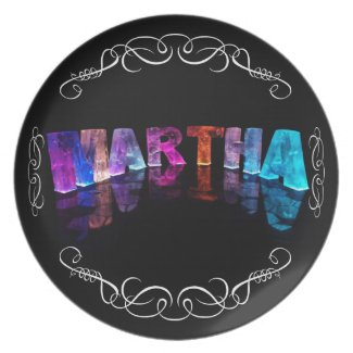 The Name Martha in 3D Lights (Photograph) Party Plate