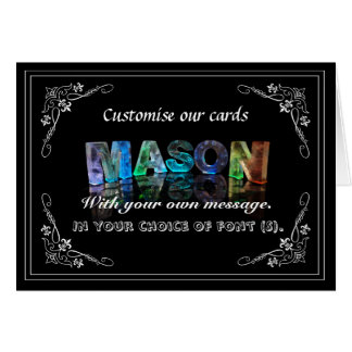 The Name Mason in 3D Lights (Photograph) Greeting Card