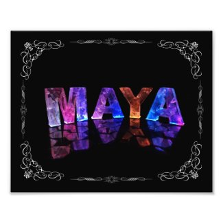 The Name Maya in 3D Lights (Photograph)