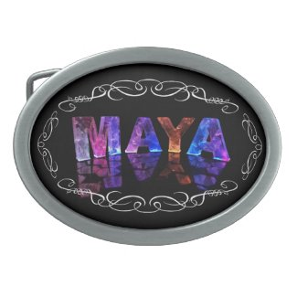 The Name Maya in 3D Lights (Photograph) Oval Belt Buckle