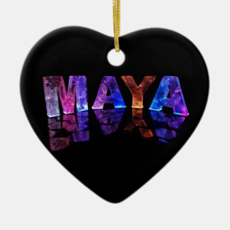 The Name Maya in 3D Lights (Photograph) Ceramic Heart Decoration