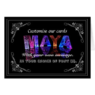 The Name Maya in 3D Lights (Photograph) Greeting Card