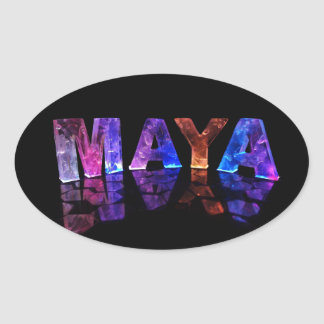 The Name Maya in 3D Lights (Photograph) Oval Sticker
