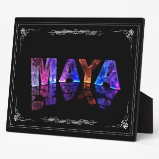 The Name Maya in 3D Lights (Photograph) Photo Plaque