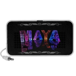 The Name Maya in 3D Lights (Photograph) Laptop Speaker
