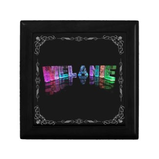 The Name Melanie in 3D Lights (Photograph) Jewelry Boxes