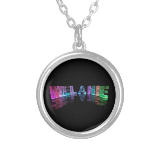 The Name Melanie in 3D Lights (Photograph) Silver Plated Necklace