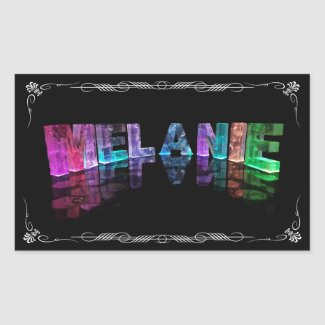 The Name Melanie in 3D Lights (Photograph) Rectangular Stickers