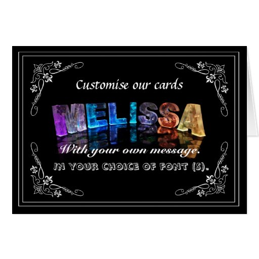The Name Melissa in 3D Lights (Photograph) Card