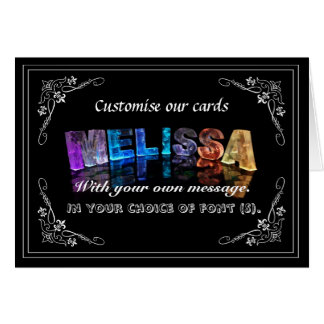 The Name Melissa in 3D Lights (Photograph) Greeting Card