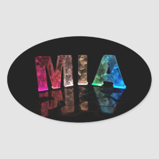 The Name Mia in 3D Lights (Photograph) Oval Sticker